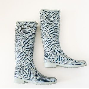Hunter turquoise printed size 7 rain boots
